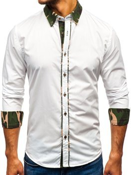 Camo-White Men's Elegant Long Sleeve Shirt Bolf 6876