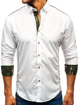 Camo-White Men's Elegant Long Sleeve Shirt Bolf 6877