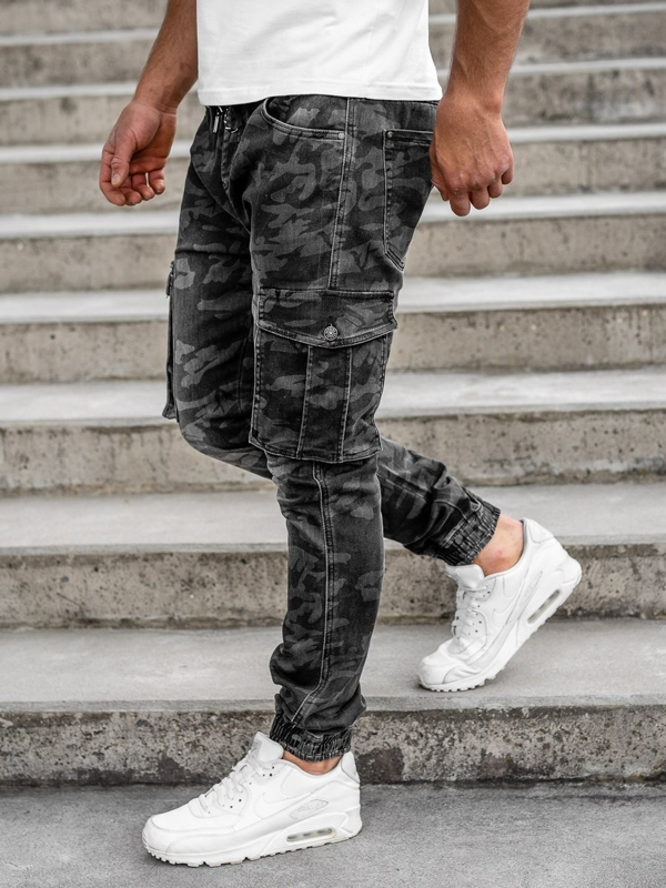 Men's Camo Cargo Joggers with Belt Black Bolf RB9491DT