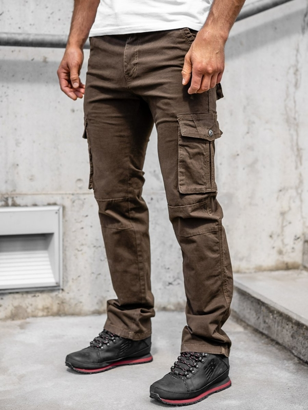 Men's Cargo Pants with Belt Brown Bolf 8813