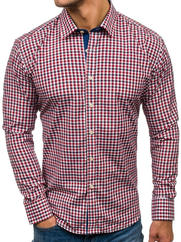 Men's Checkered Long Sleeve Shirt Navy Blue-Red Bolf GET10