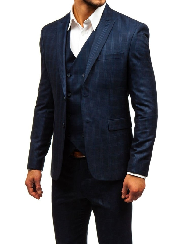 Men's Checkered Suit with Vest Navy Blue Bolf 17100