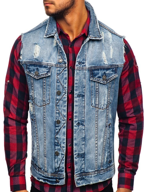 Men's Denim Gilet Blue Bolf AK551
