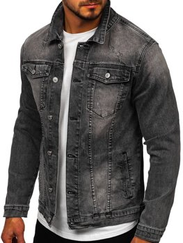 Men's Denim Jacket Black Bolf AK586