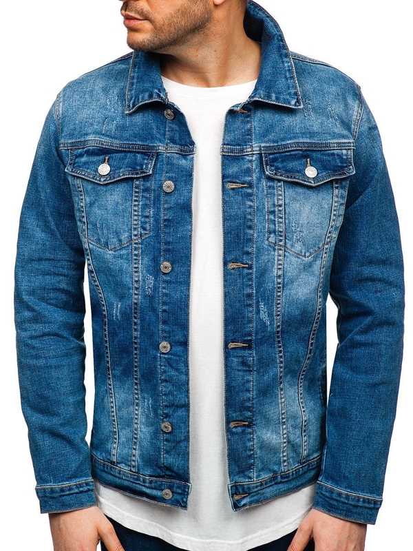 Men's Denim Jacket Navy Blue Bolf AK585