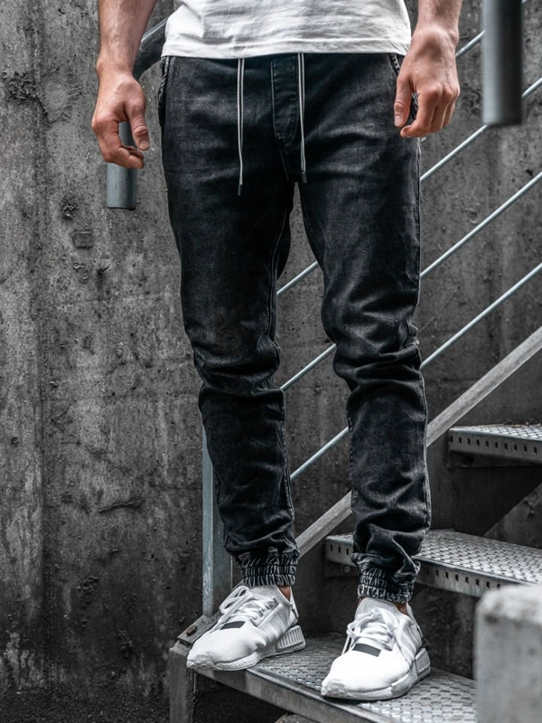 Men's Denim Joggers Black Bolf  KA1078