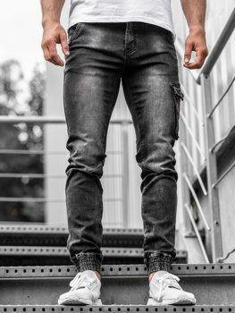 Men's Denim Joggers Black Bolf  KA738