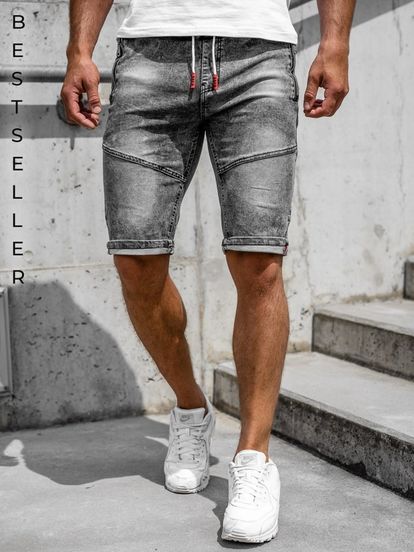 Men's Denim Shorts Black Bolf HY651