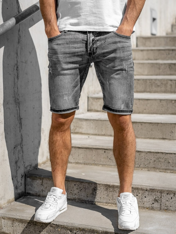 Men's Denim Shorts Black Bolf KG3753A