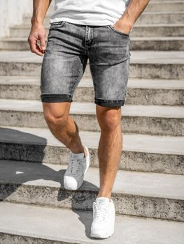 Men's Denim Shorts Black Bolf KG3806