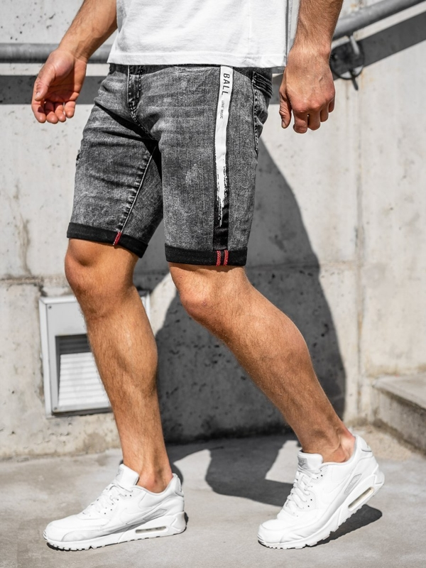 Men's Denim Shorts Black Bolf KG3832