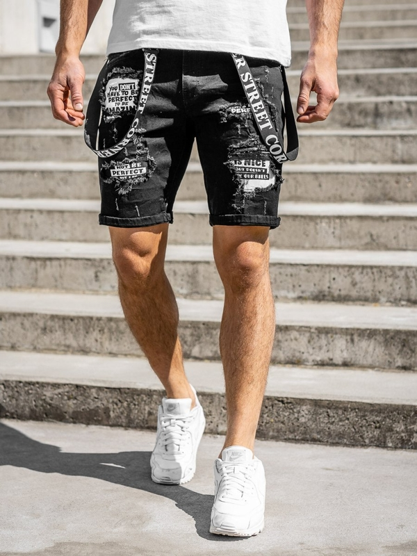 Men's Denim Shorts Black Bolf KG3882