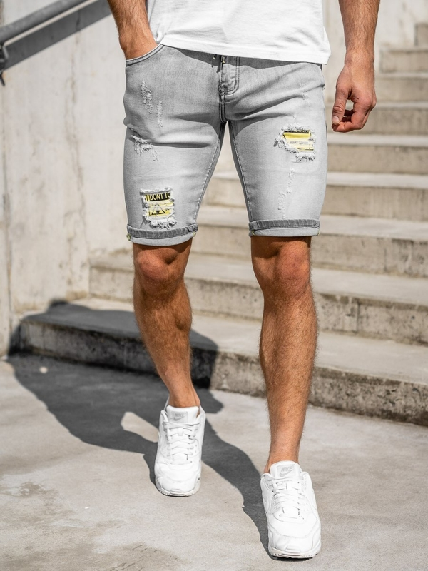 Men's Denim Shorts Grey Bolf KG3811