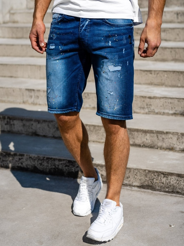 Men's Denim Shorts Navy Blue Bolf 3001
