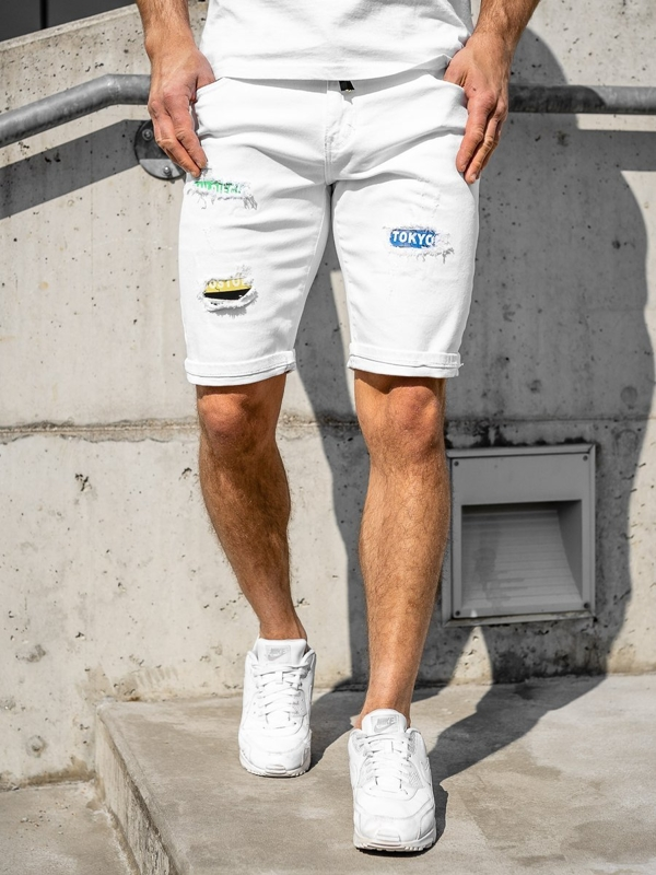 Men's Denim Shorts White Bolf KG3808