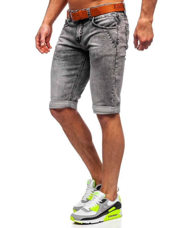 Men's Denim Shorts with Belt Black Bolf KR1211