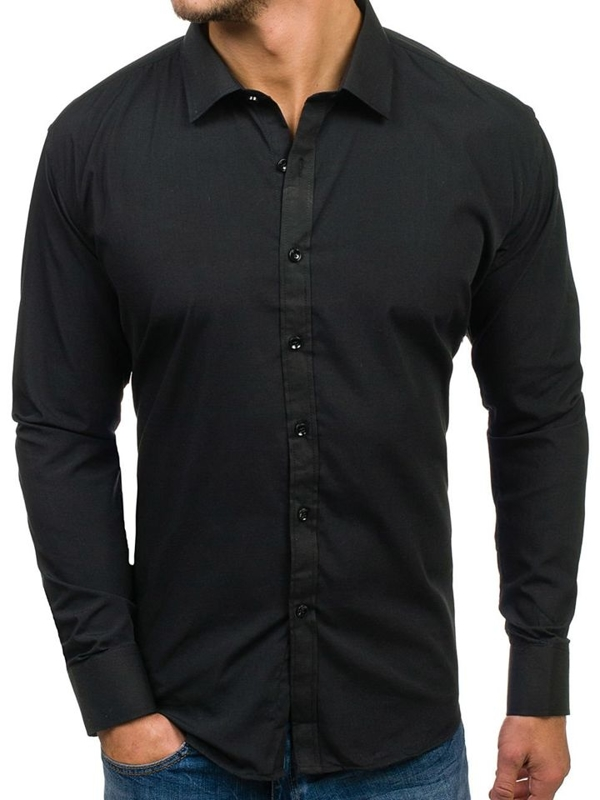 Men's Elegant Long Sleeve Shirt Black Bolf 001