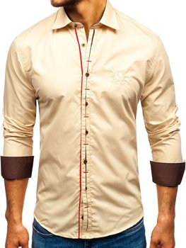 Men's Elegant Long Sleeve Shirt Camel Bolf 1769