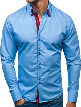 Men's Elegant Long Sleeve Shirt Sky Blue Bolf 2785