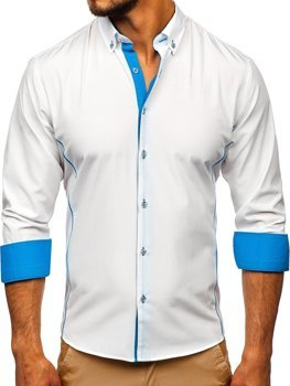 Men's Elegant Long Sleeve Shirt White-Sky Blue Bolf 5722-1-A