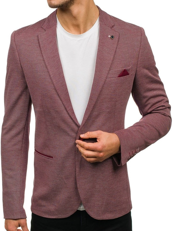 Men's Elegant Suit Jacket Claret Bolf M011