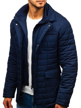 Men's Elegant Transitional Jacket Navy Blue Bolf EX201