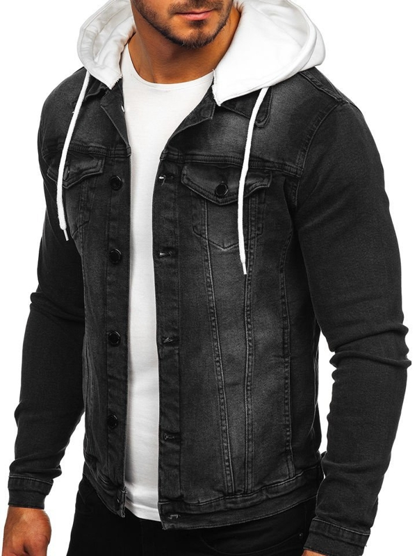 Men's Hooded Denim Jacket Black Bolf 605