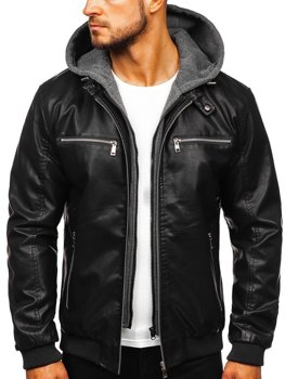 Men's Hooded Leather Jacket Black Bolf 1105
