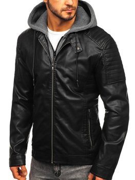 Men's Hooded Leather Jacket Black Bolf 1136