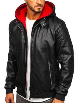 Men's Hooded Leather Jacket Black-Red Bolf 6132