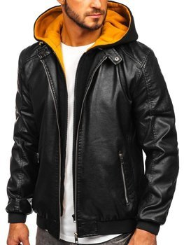 Men's Hooded Leather Jacket Black-Yellow Bolf 6132