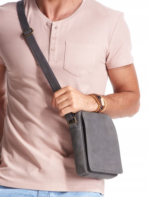 Men's Leather Bag Grey 2481