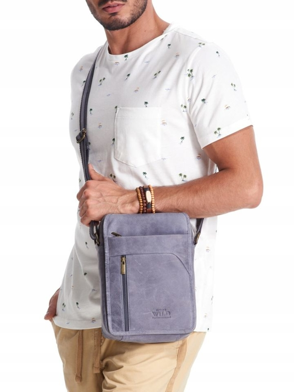 Men's Leather Bag Navy Blue 2452