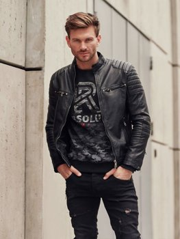 Men's Leather Biker Jacket Black Bolf 1113