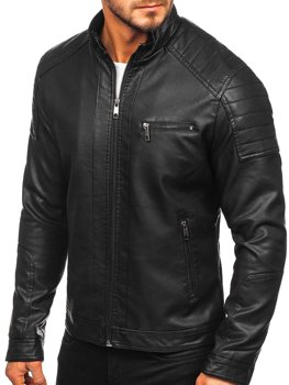 Men's Leather Biker Jacket Black Bolf 88903