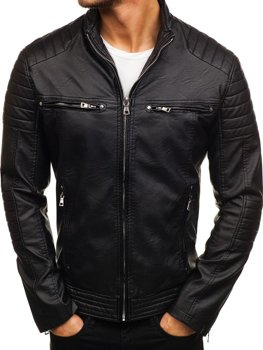 Men's Leather Biker Jacket Black Bolf 9103