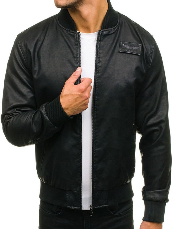 Men's Leather Bomber Jacket Black Bolf 4816