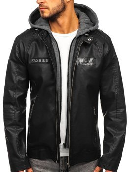 Men's Leather Hooded Jacket Black Bolf 1127