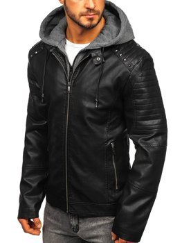 Men's Leather Hooded Jacket Black Bolf 1135