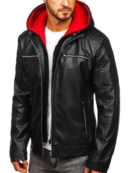 Men's Leather Hooded Jacket Black-Red Bolf 6131