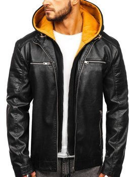 Men's Leather Hooded Jacket Black-Yellow Bolf 6131