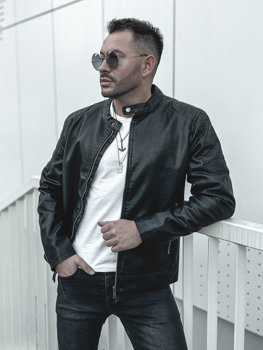 Men's Leather Jacket Black Bolf 1108