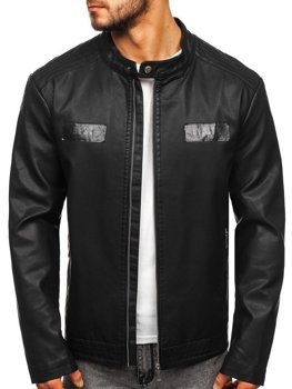 Men's Leather Jacket Black Bolf 1122