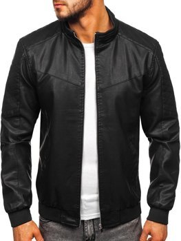 Men's Leather Jacket Black Bolf 1123