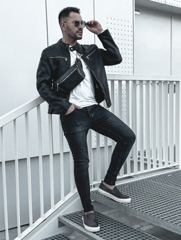 Men's Leather Jacket Black Bolf 1129