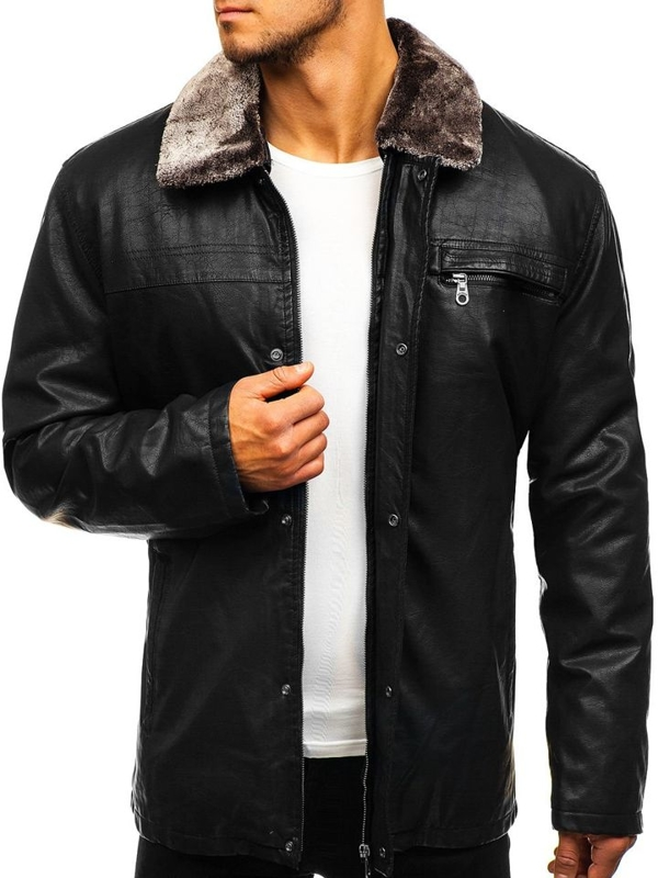 Men's Leather Jacket Black Bolf 293