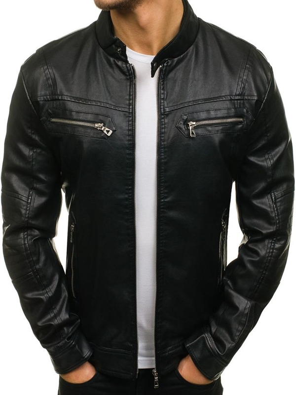 Men's Leather Jacket Black Bolf 5010