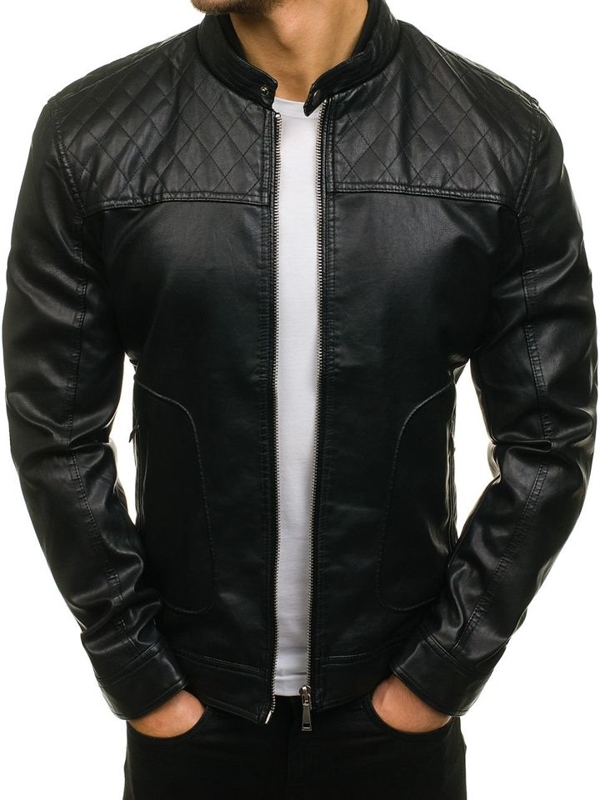 Men's Leather Jacket Black Bolf 5012