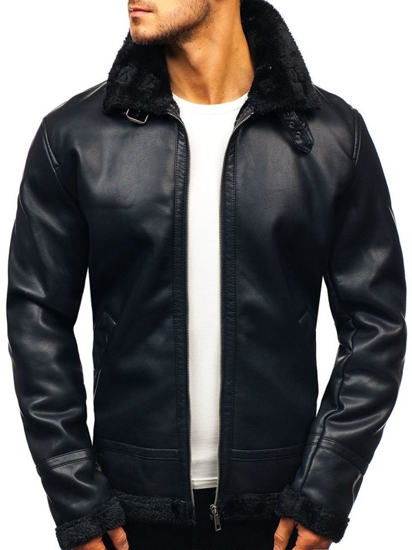 Men's Leather Jacket Black Bolf 5594