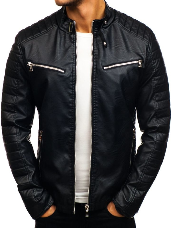 Men's Leather Jacket Black Bolf 9111